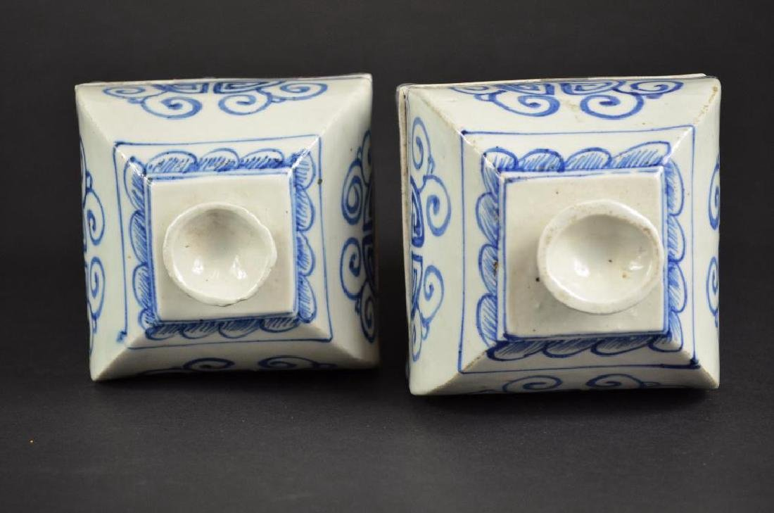Pair of Chinese Underglaze Blue & White Lidded Vases - 5