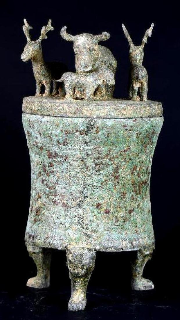 Chinese Bronze Lidded Tripod Censer