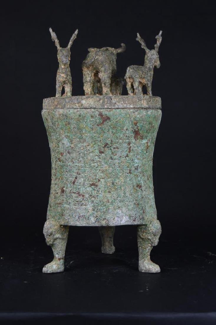 Chinese Bronze Lidded Tripod Censer - 3