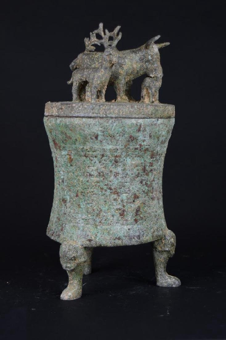 Chinese Bronze Lidded Tripod Censer - 4