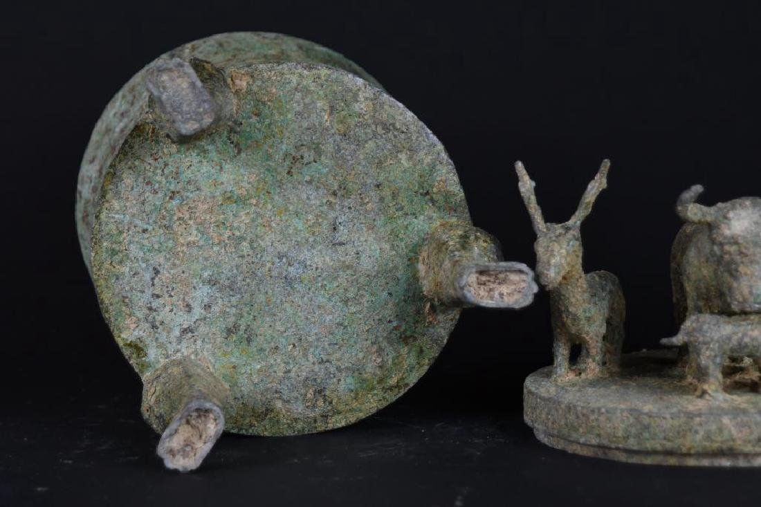 Chinese Bronze Lidded Tripod Censer - 8