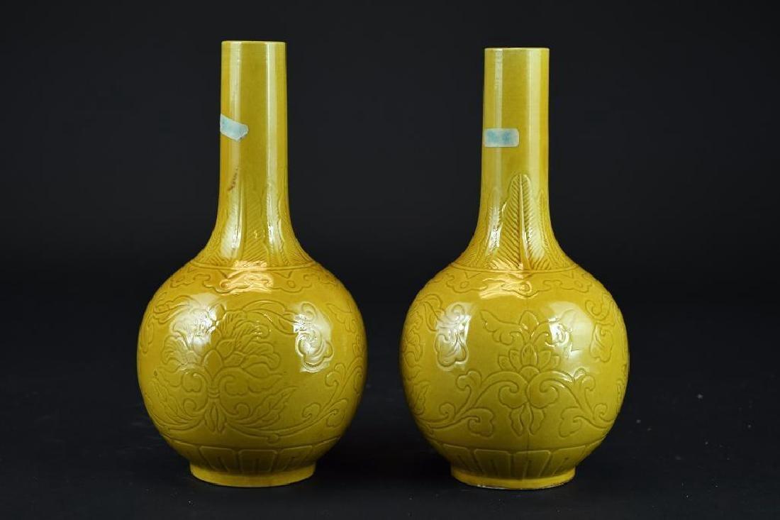 Pair of Yellow Glaze Porcelain Vases - 3