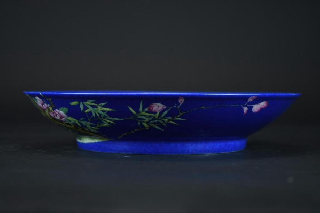 Chinese Cobalt Blue Porcelain Plate - 4