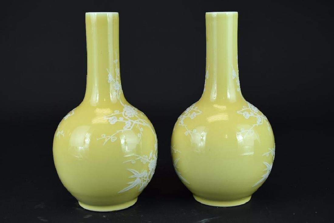 Pair of Chinese Yellow Bottle Shape Vases - 4