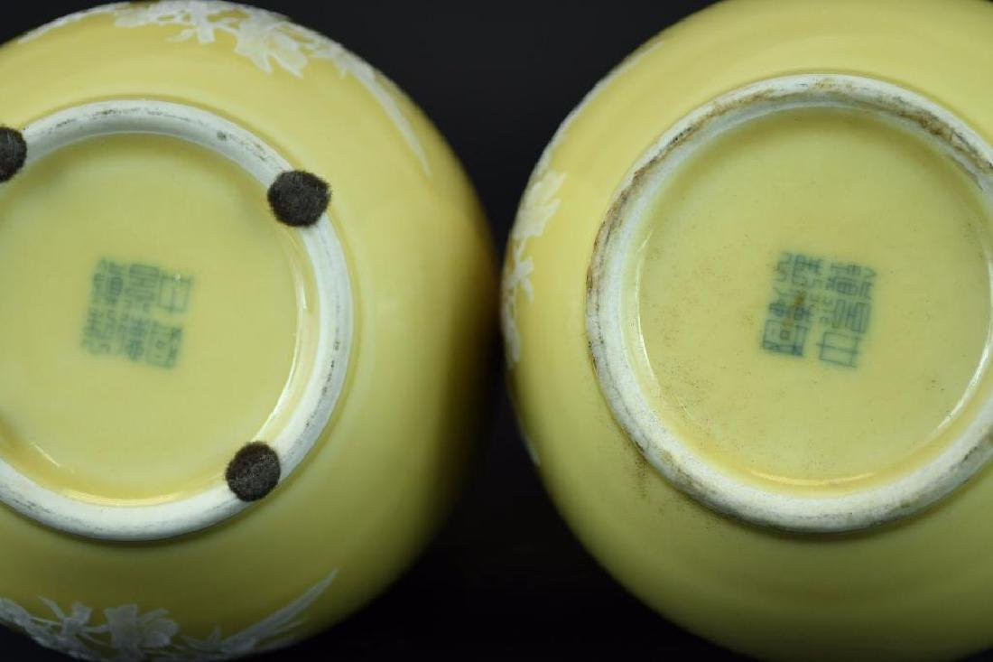 Pair of Chinese Yellow Bottle Shape Vases - 6