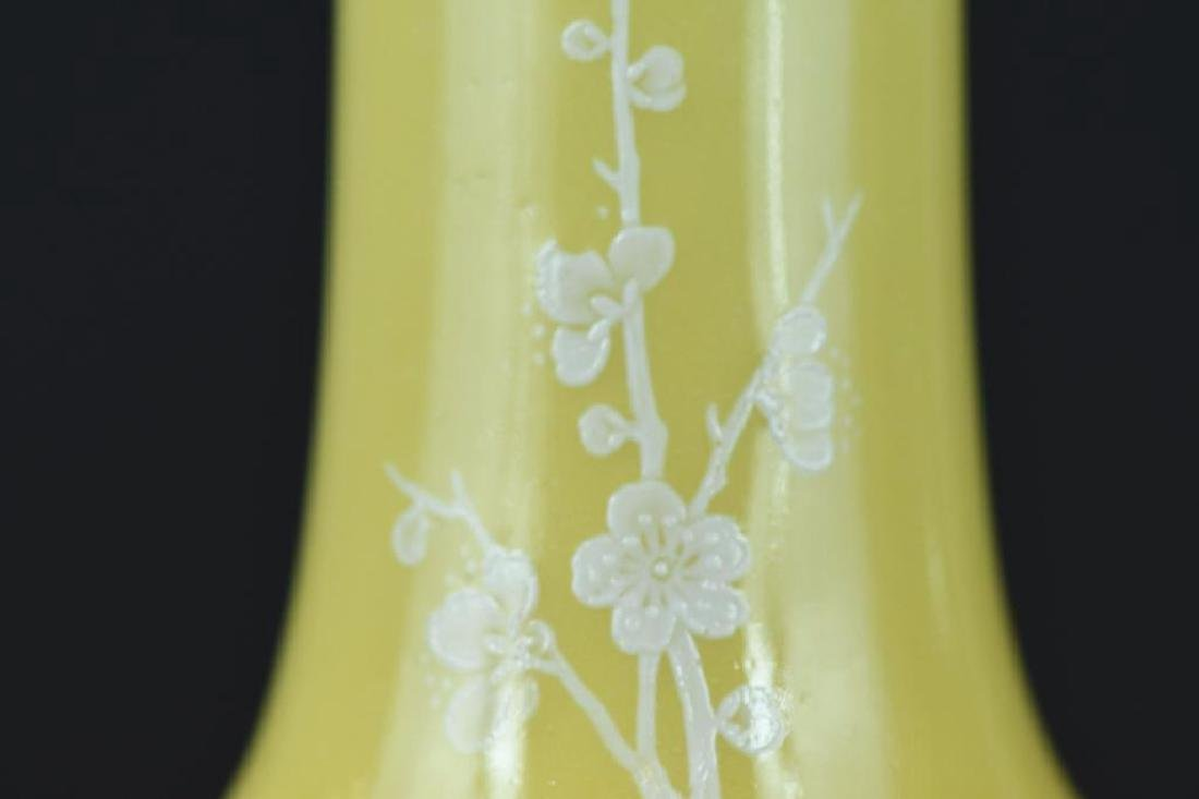 Pair of Chinese Yellow Bottle Shape Vases - 7