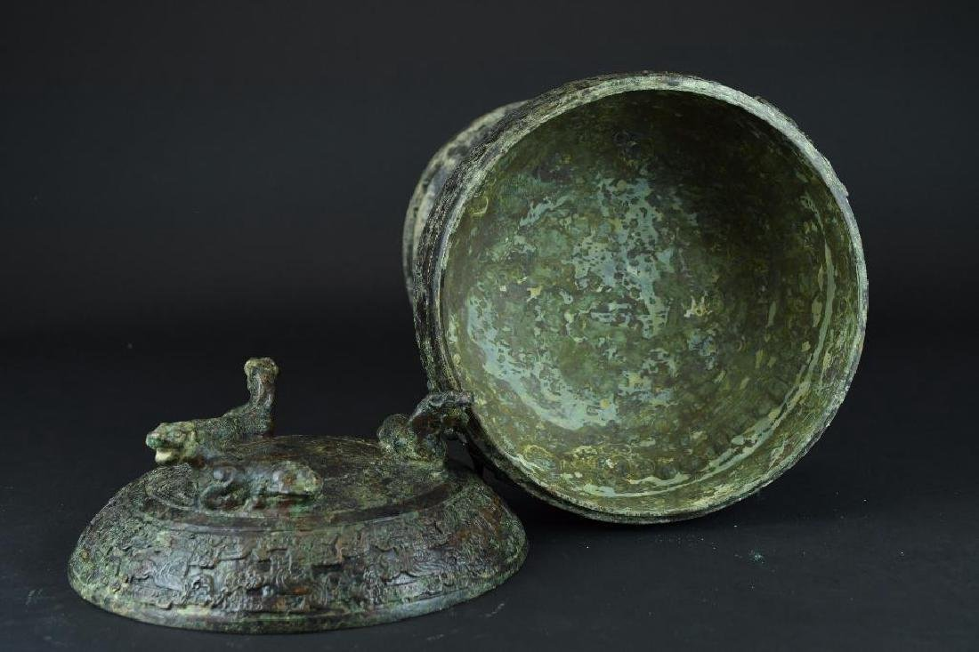 Chinese Bronze Lidded and Footed Food Vessel - 5