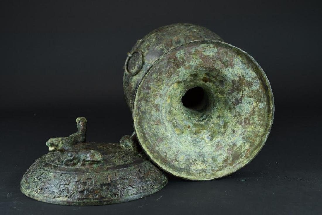 Chinese Bronze Lidded and Footed Food Vessel - 6