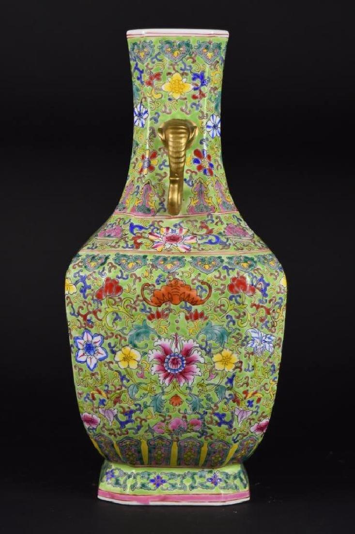Chinese Famille Verte Porcelain Vase - 2