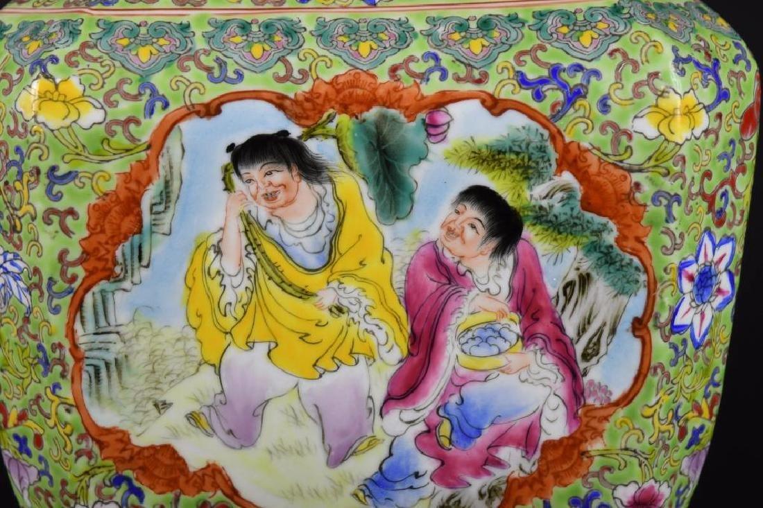 Chinese Famille Verte Porcelain Vase - 8