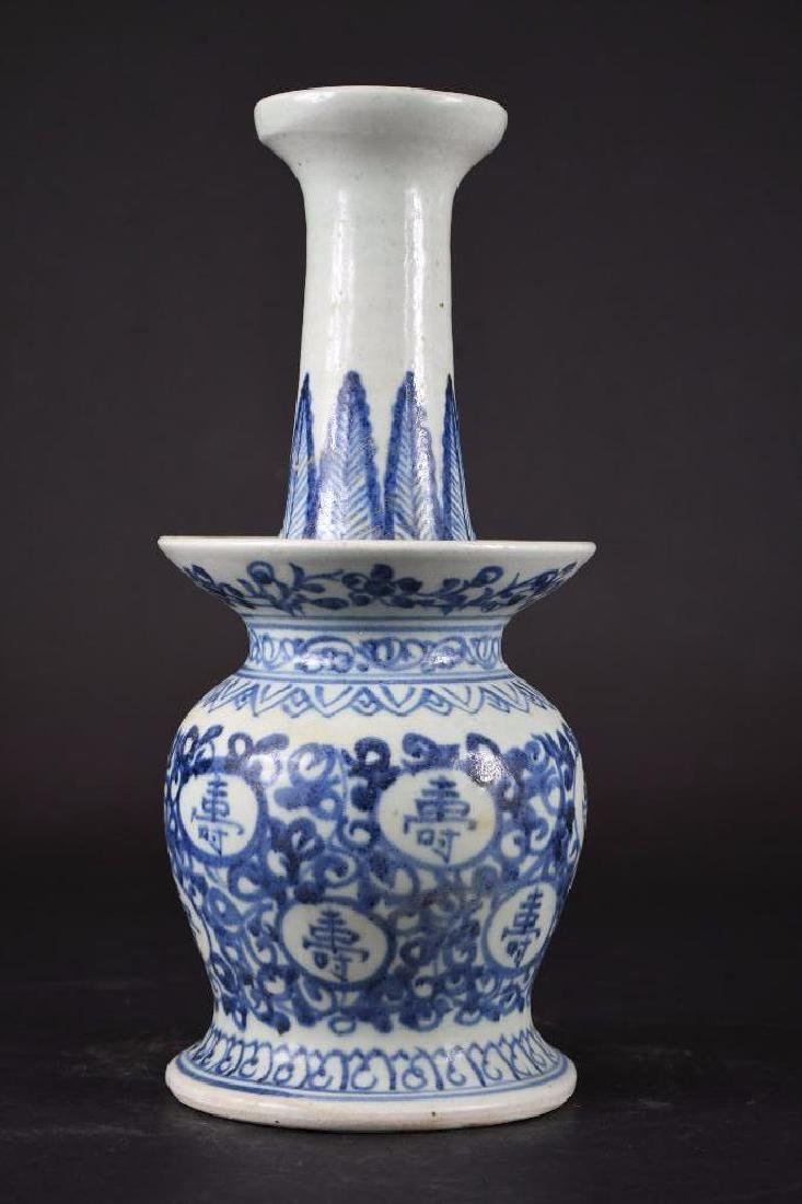 Chinese Blue & White Candle holder - 3