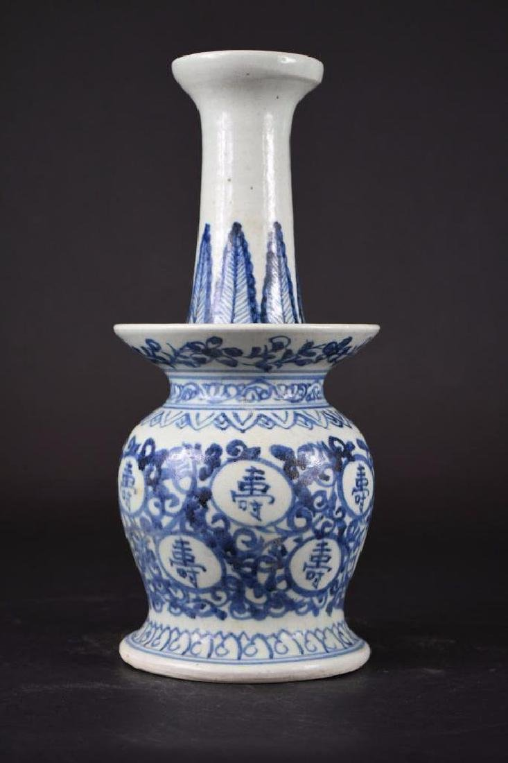 Chinese Blue & White Candle holder - 4