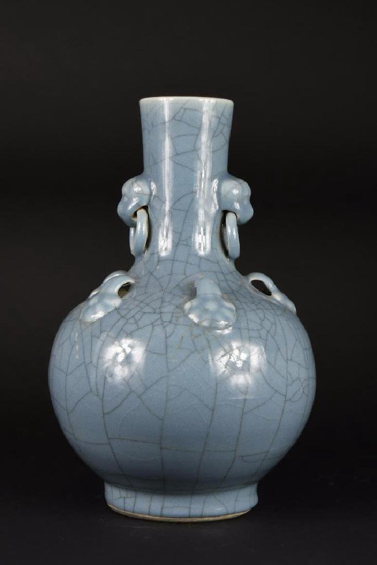 Chinese Pale Blue Footed Vase - 3