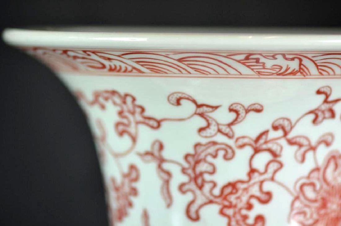 Chinese Copper Red Underglaze Dragon Vase - 7