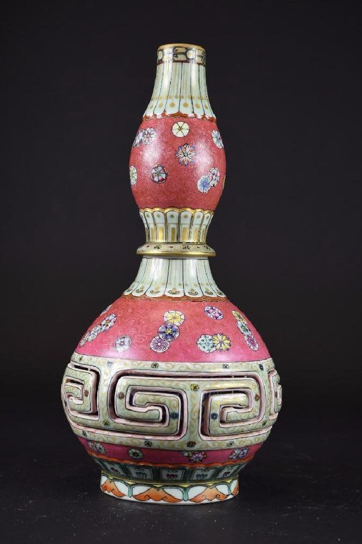 Chinese Pink Ground Famille Rose Double Gourd Vase - 2