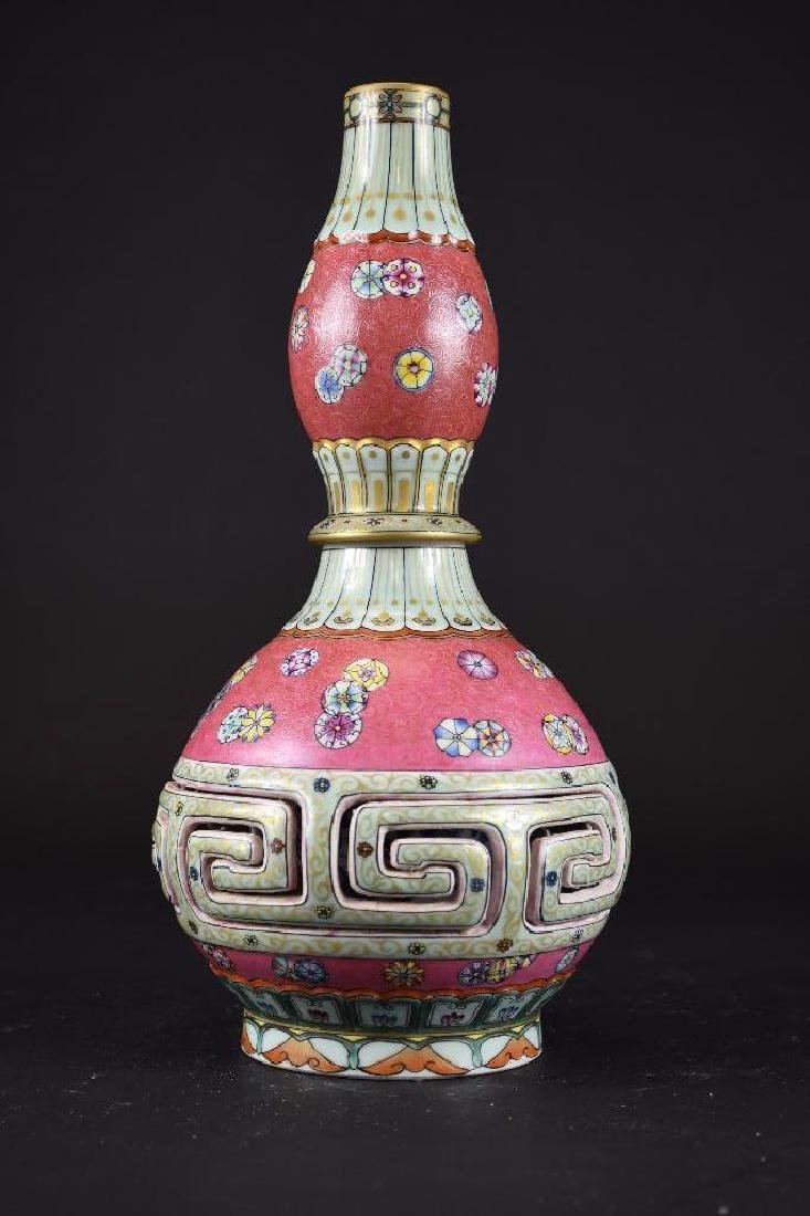 Chinese Pink Ground Famille Rose Double Gourd Vase - 3