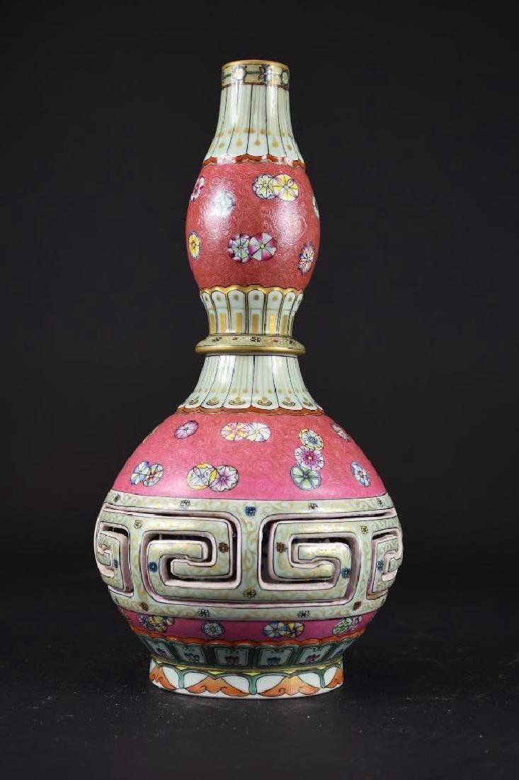 Chinese Pink Ground Famille Rose Double Gourd Vase - 4