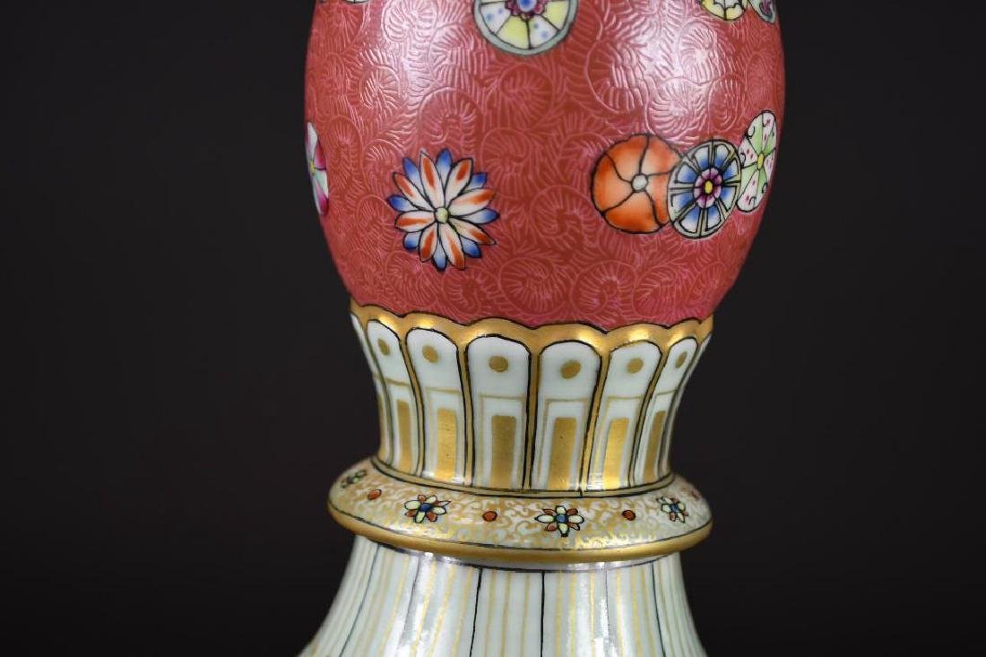 Chinese Pink Ground Famille Rose Double Gourd Vase - 7