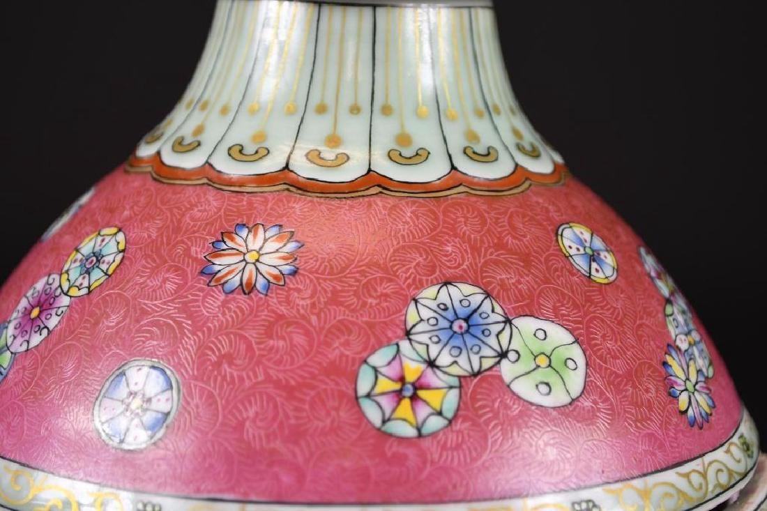 Chinese Pink Ground Famille Rose Double Gourd Vase - 8