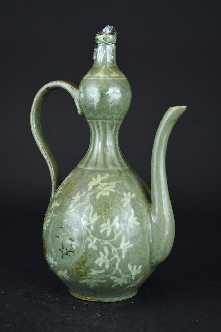 Korean Celadon Porcelain Lidded Ewer