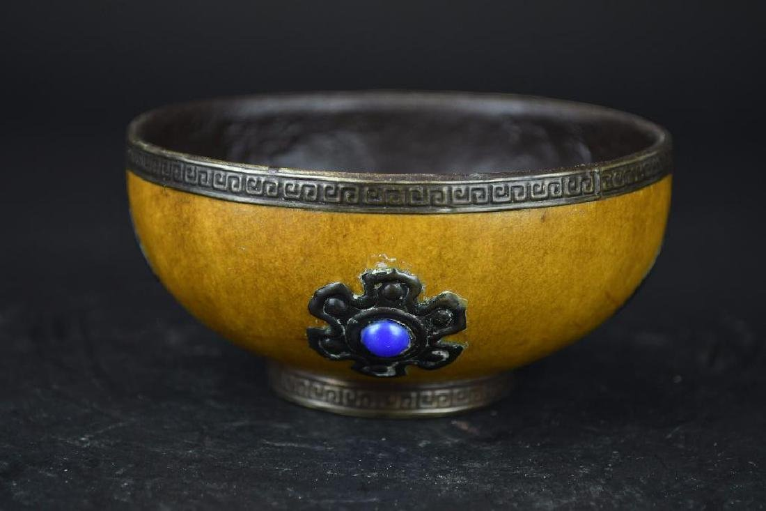 Chinese Gourd Cup with Silver Trim, Silver Decoration