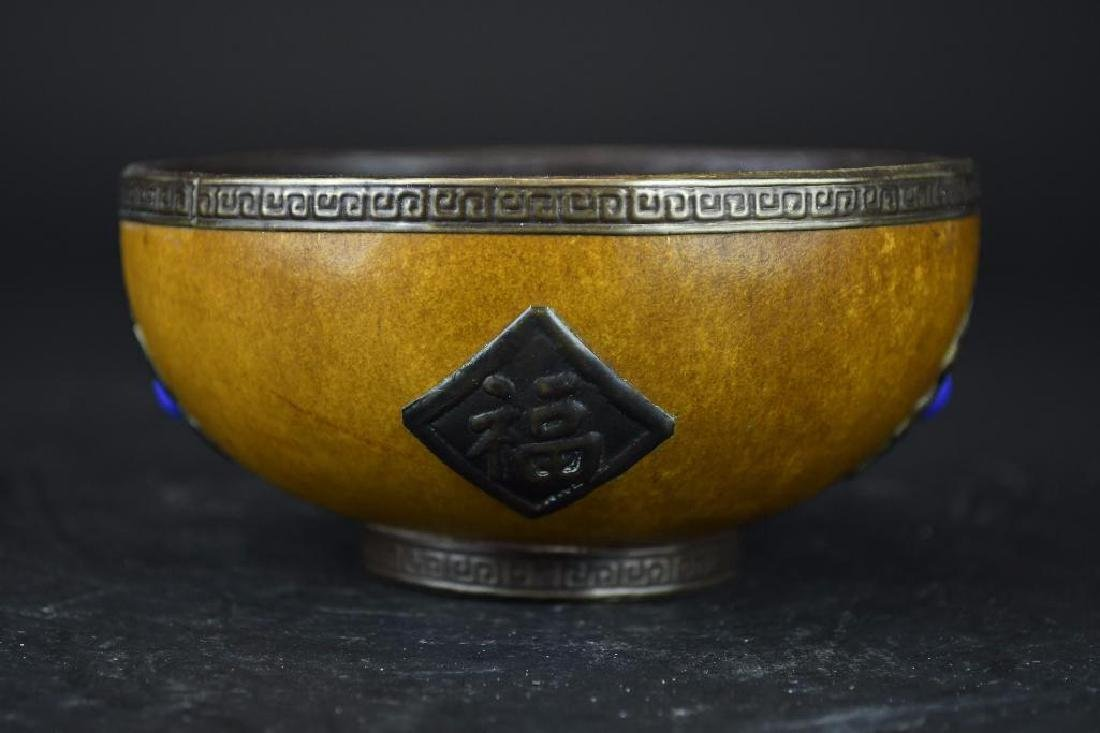 Chinese Gourd Cup with Silver Trim, Silver Decoration - 2