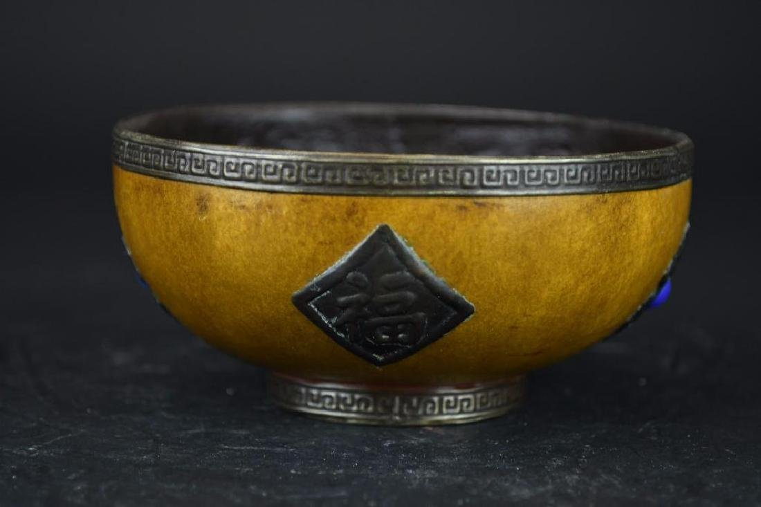 Chinese Gourd Cup with Silver Trim, Silver Decoration - 4