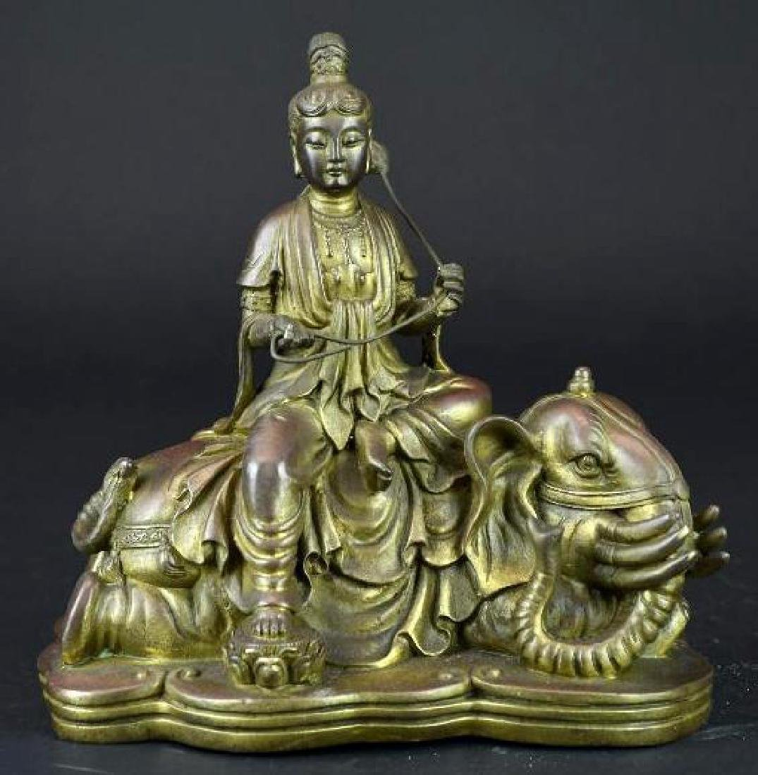 Bronze Seated Guan Yin Riding on Elephant