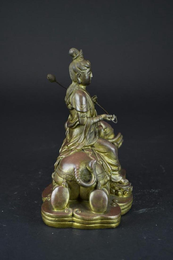 Bronze Seated Guan Yin Riding on Elephant - 2