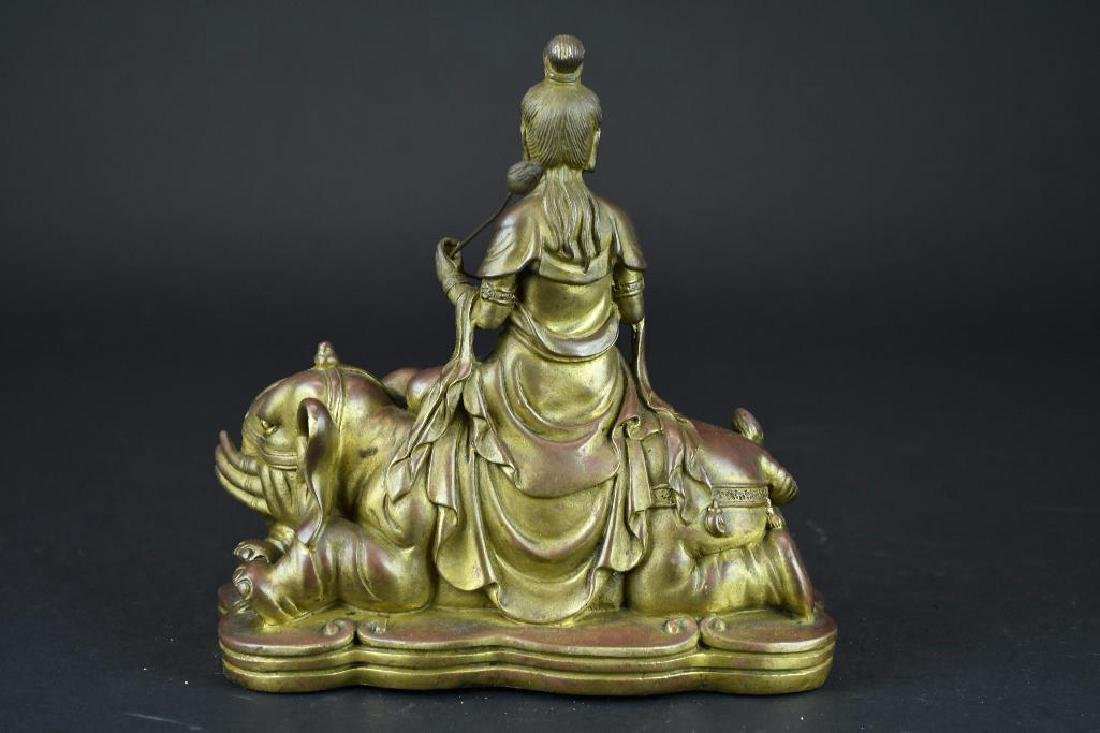 Bronze Seated Guan Yin Riding on Elephant - 3