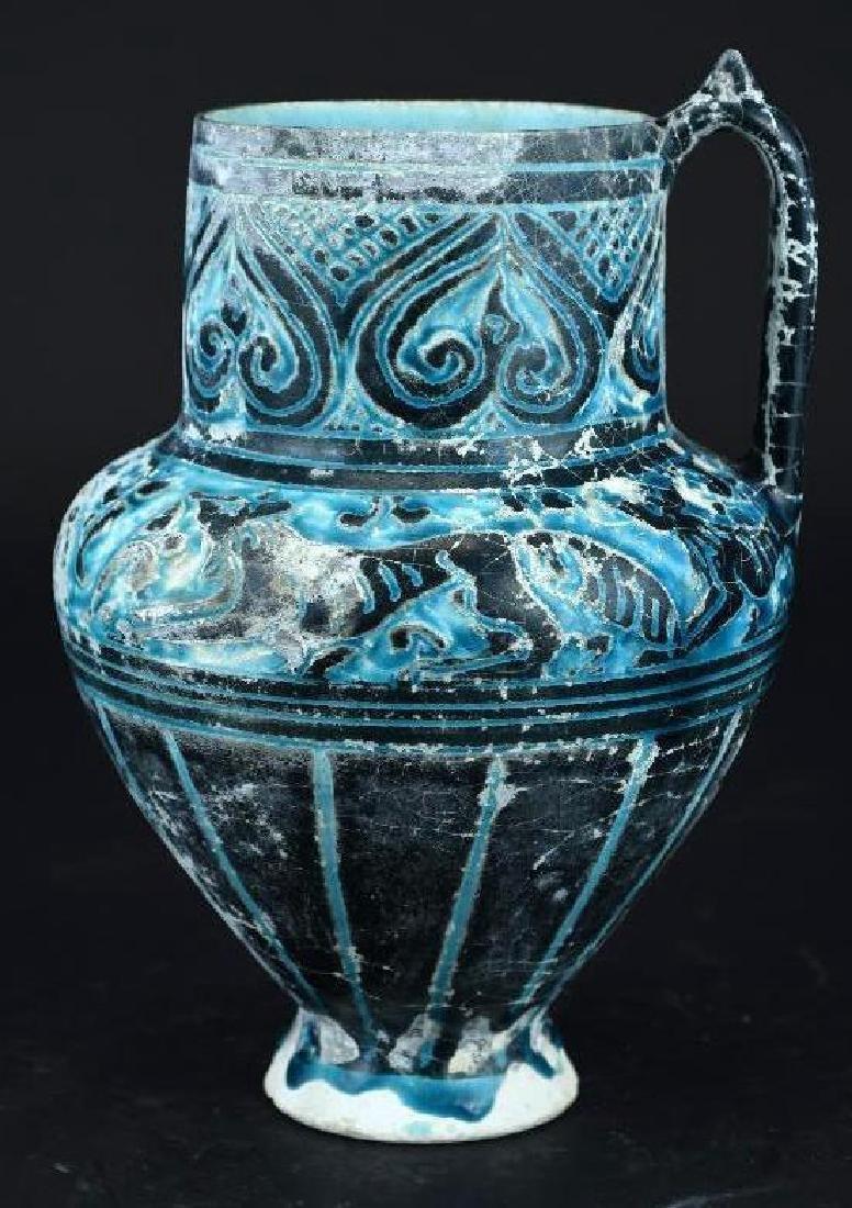Antique Islamic Cobalt Glaze Inscribed Pottery Ewer