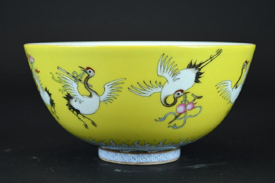 Chinese Imperial Yellow Ground Crane Porcelain Bowl