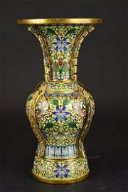 Chinese Cloisonne Decorated Bronze Vase