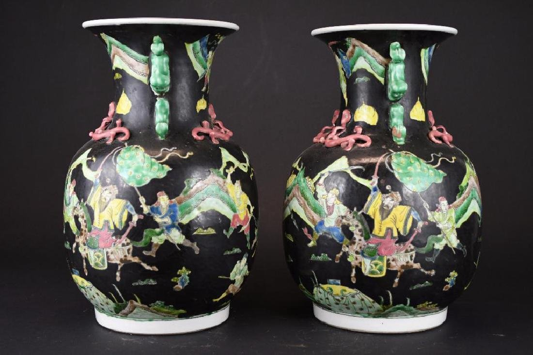 Pair of Chinese Famille Noire Porcelain Vases - 2
