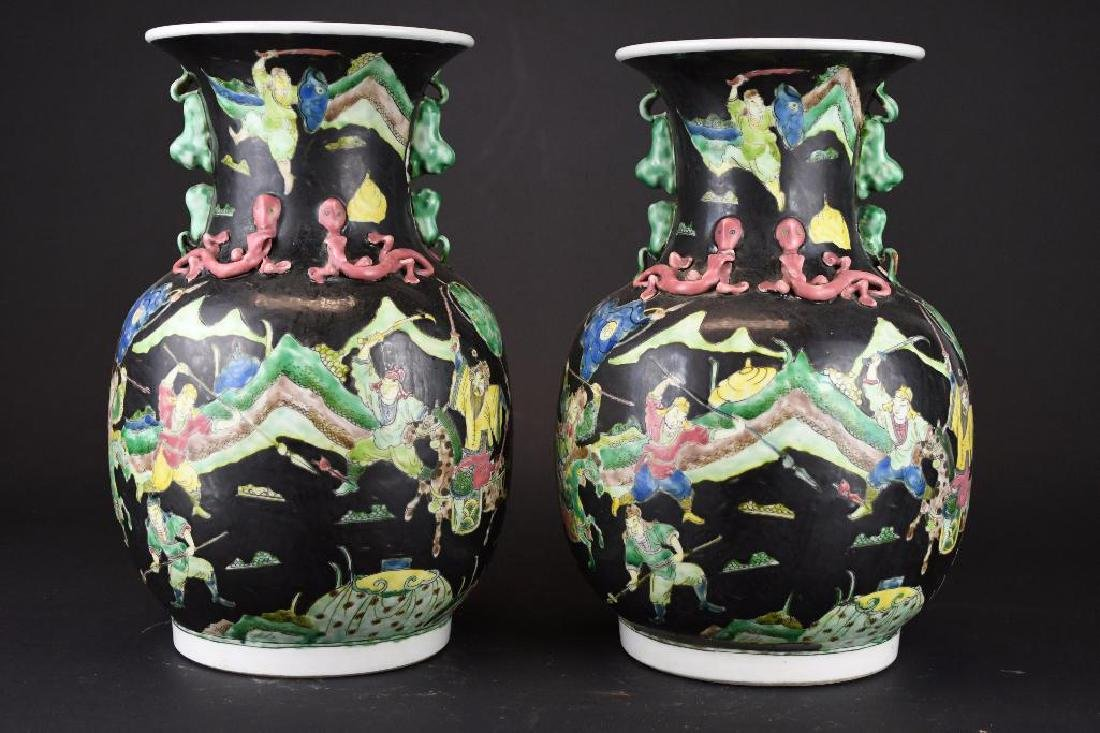 Pair of Chinese Famille Noire Porcelain Vases - 3