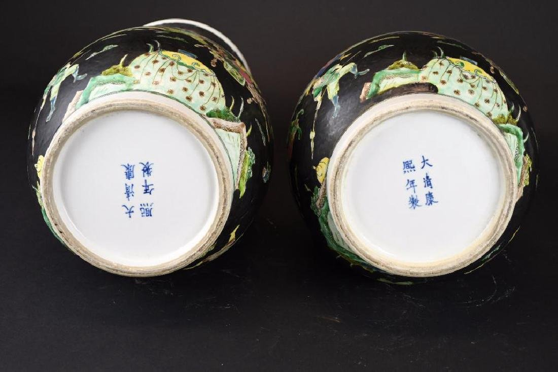 Pair of Chinese Famille Noire Porcelain Vases - 9