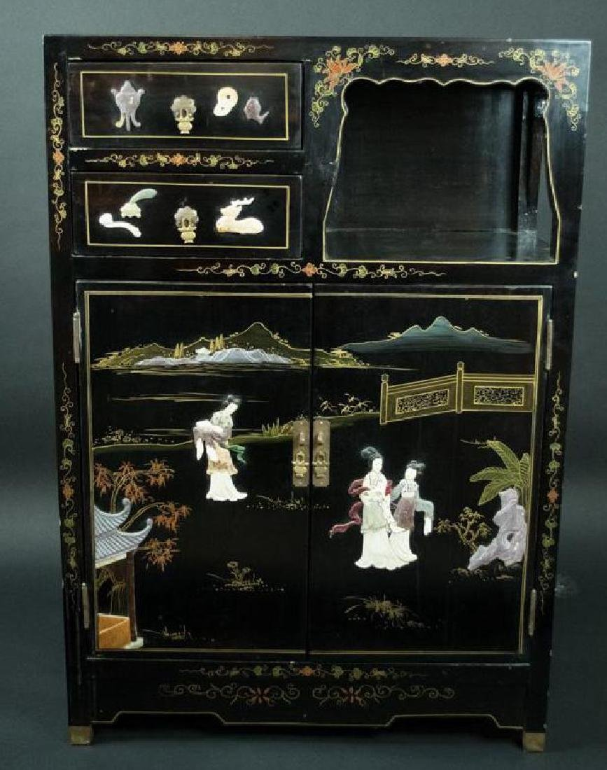 Chinese Soap Stone Applique Cabinet