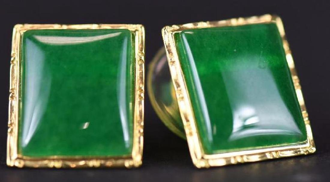 Pair of Gold & jadeite earrings