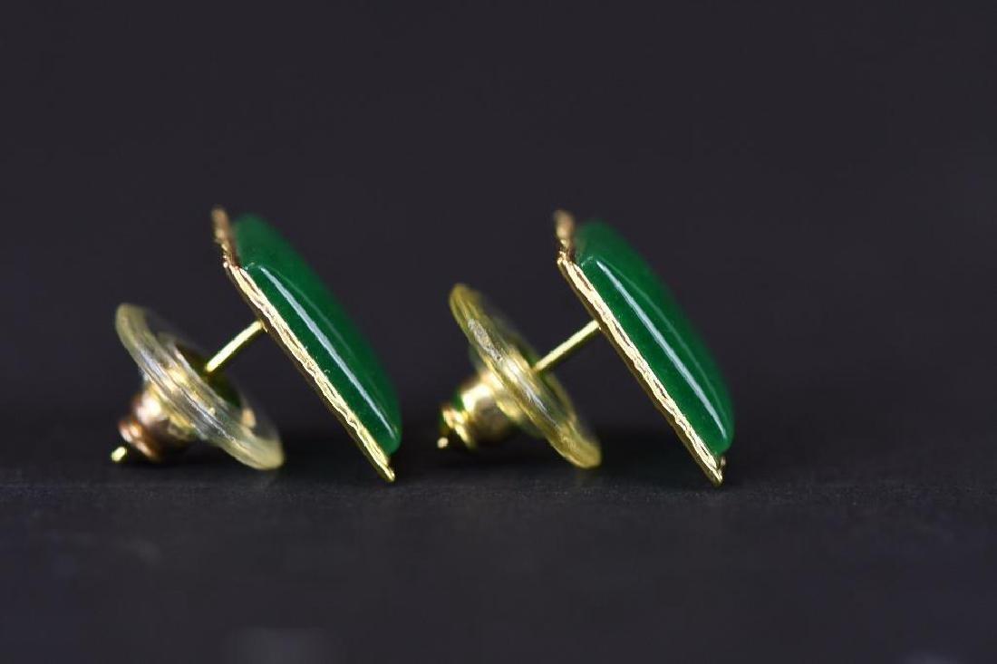 Pair of Gold & jadeite earrings - 2