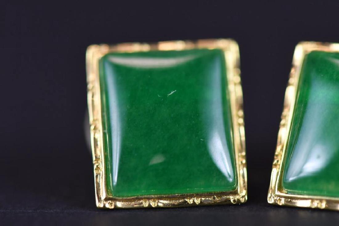 Pair of Gold & jadeite earrings - 4