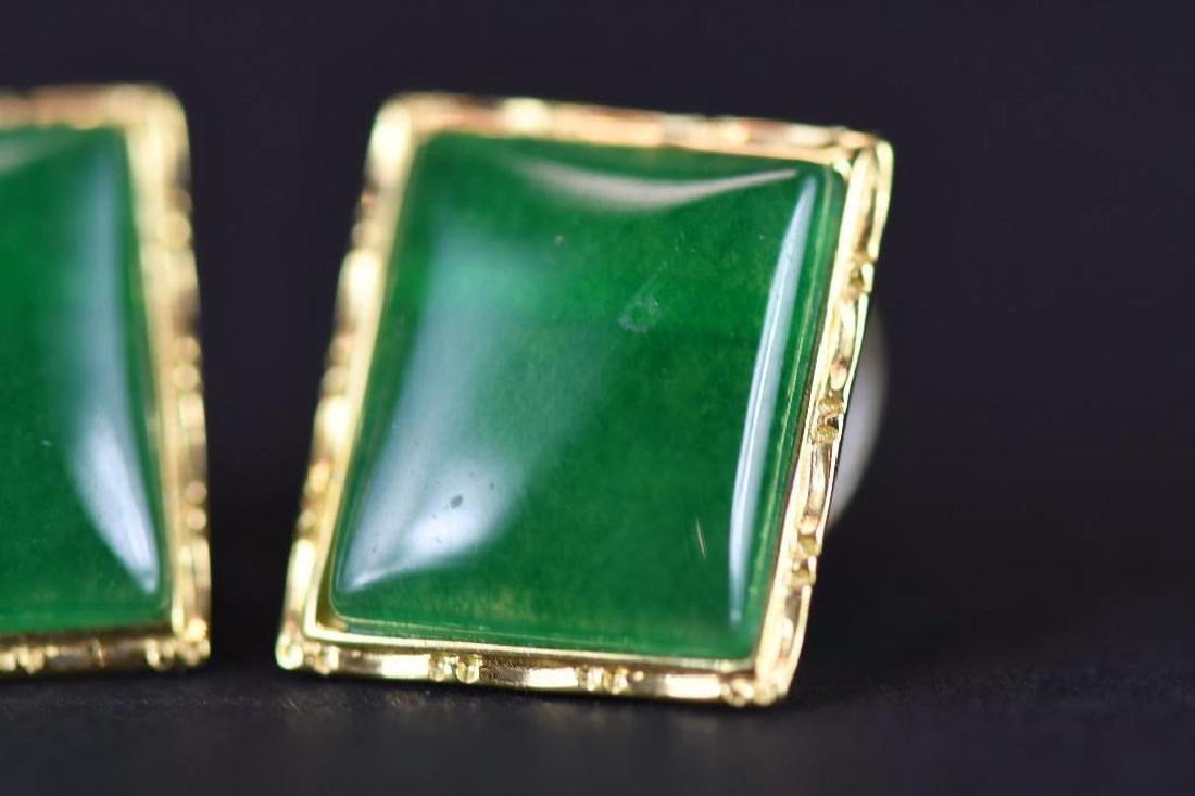 Pair of Gold & jadeite earrings - 5