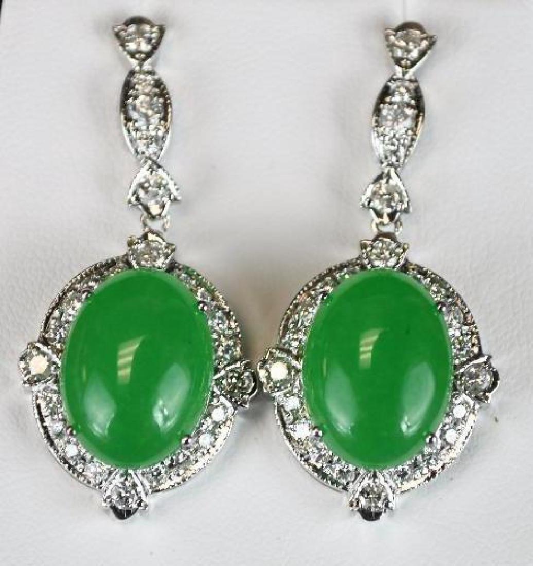 Diamond & Jadeite White Gold Earrings