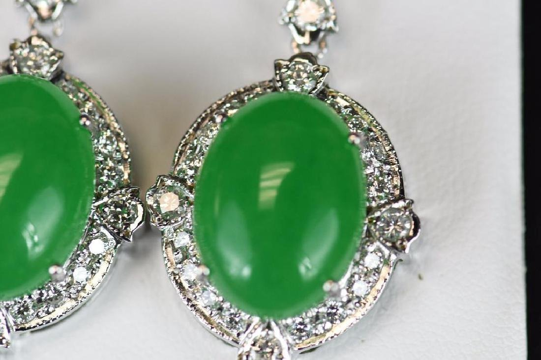 Diamond & Jadeite White Gold Earrings - 4
