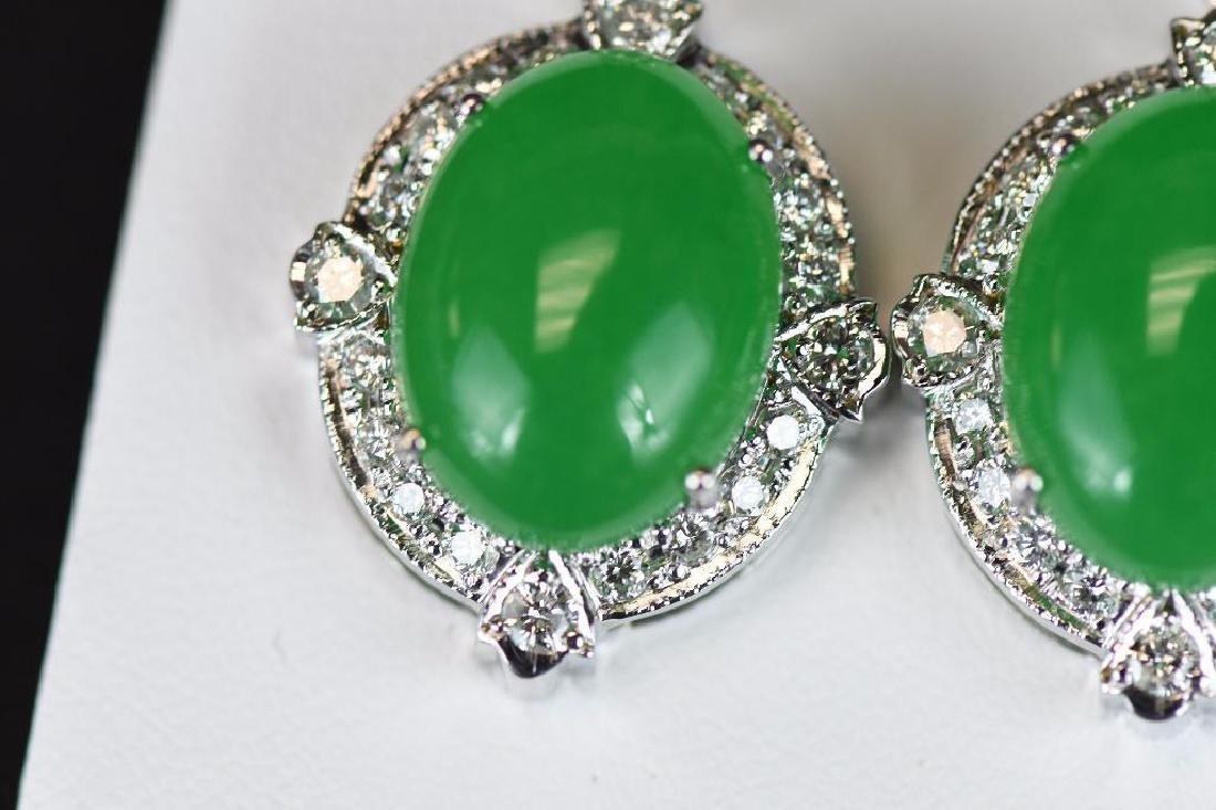 Diamond & Jadeite White Gold Earrings - 5