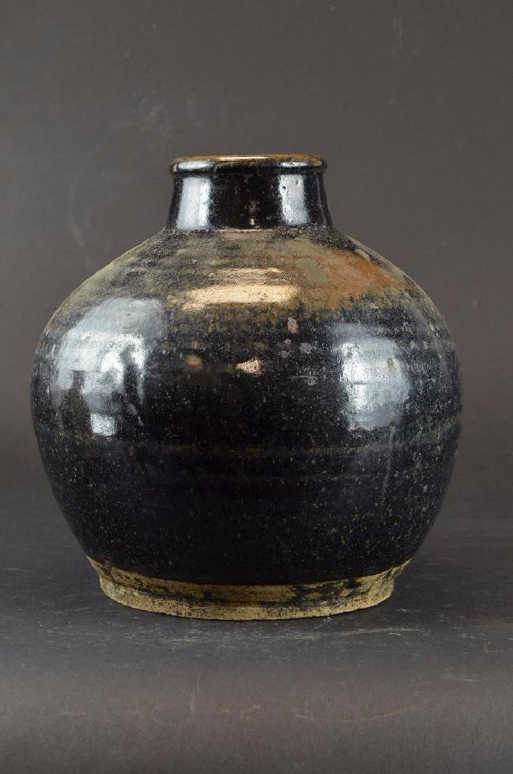 Chinese Black Glaze Pottery Vase - 2