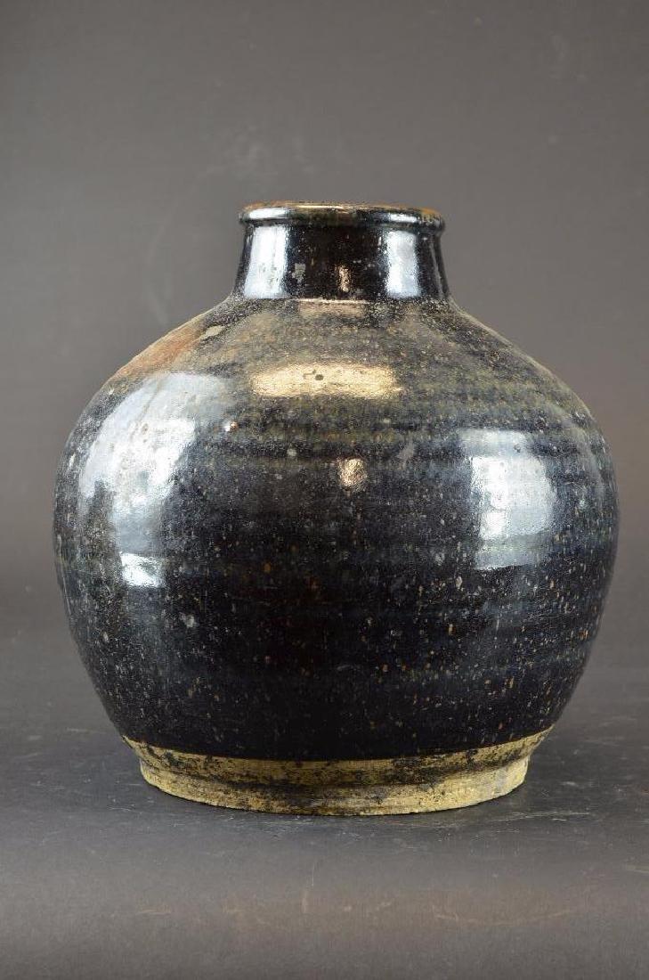 Chinese Black Glaze Pottery Vase - 3