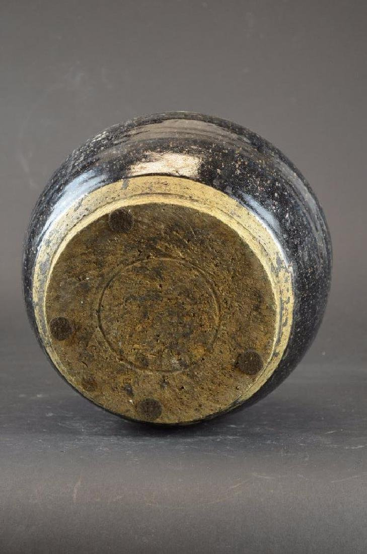 Chinese Black Glaze Pottery Vase - 5
