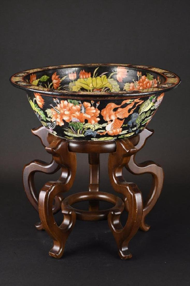 Chinese Bowl on Wood Stand