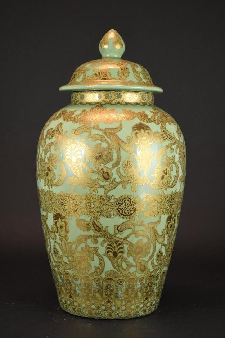 Chinese Lidded Gold Decorated Jar - 2