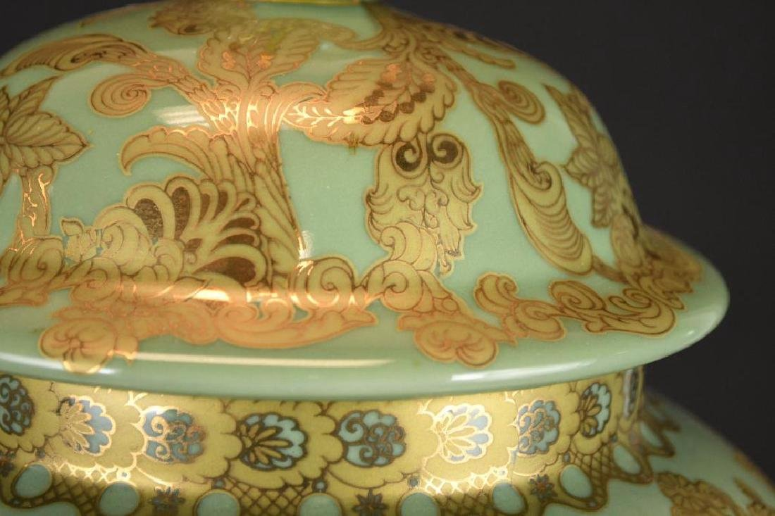 Chinese Lidded Gold Decorated Jar - 4